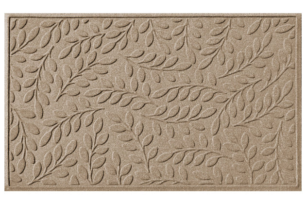 Home Accents Aqua Shield 3' x 5' Brittany Leaf Estate Mat, Beige, large