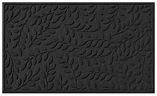 Home Accents Aqua Shield 3' x 5' Brittany Leaf Estate Mat, Charcoal, large