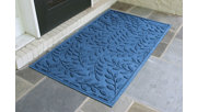 Home Accents Aqua Shield 3' x 5' Brittany Leaf Estate Mat, Blue, rollover