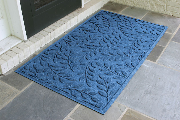 Home Accents Aqua Shield 3' x 5' Brittany Leaf Estate Mat, Blue, large
