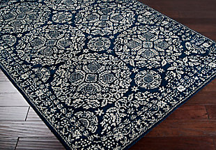 Traditional Area Rug 5' x 8' Rug, Dark Blue/Light Gray, rollover