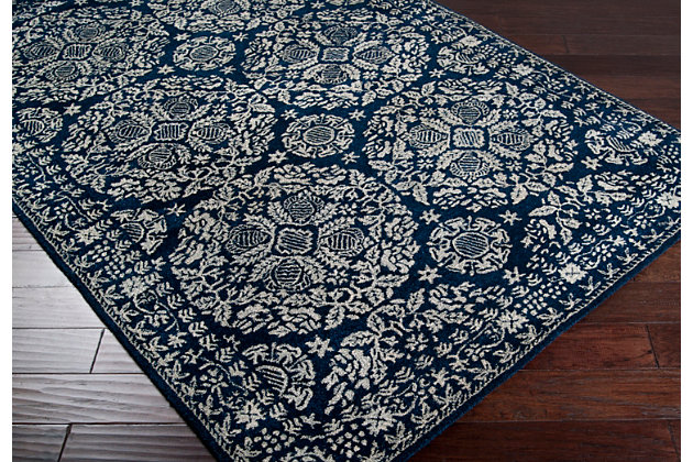 Traditional Area Rug 5' x 8' Rug, Dark Blue/Light Gray, large