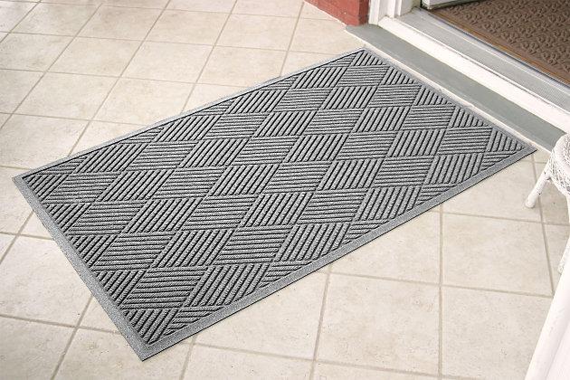 Home Accents Aqua Shield 3' x 5' Diamonds Estate Mat, Gray, large