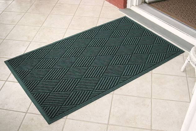 Home Accents Aqua Shield 3' x 5' Diamonds Estate Mat, Green, large