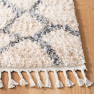 "Safavieh Berber Fringe Shag 5'3"" X 7'6"" Area Rug, Cream/Gray, rollover"