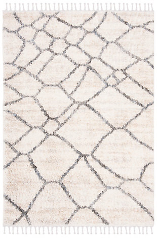 "Safavieh Berber Fringe Shag 5'3"" X 7'6"" Area Rug, Cream/Gray, large"