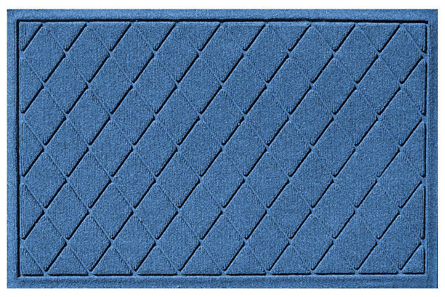 "Home Accents Aqua Shield 1'11"" x 3' Argyle Indoor/Outdoor Doormat, Blue, large"