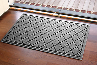 "Home Accents Aqua Shield 1'11"" x 3' Argyle Indoor/Outdoor Doormat, Gray, large"