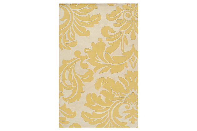 Home Accents Athena Paisley 4' x 6' Area Rug, Yellow, large