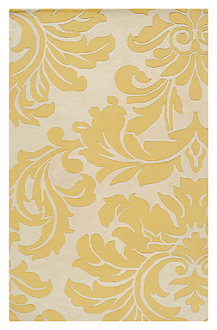 Home Accents Athena Paisley 5' x 8' Area Rug, Yellow, large