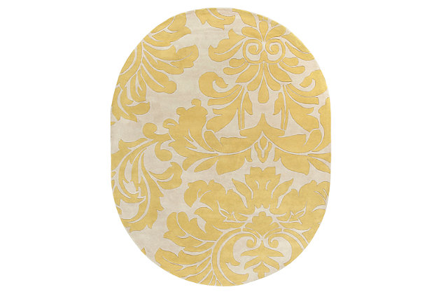 Home Accents Athena Paisley 8' x 10' Oval Area Rug, Yellow, large