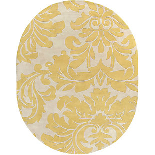 Home Accents Athena Paisley 8' x 10' Oval Area Rug, Yellow, rollover