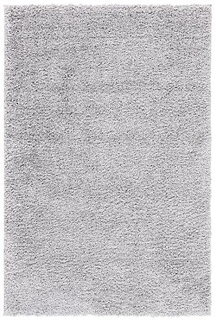 August Shag 4' x 6' Runner Rug, Black/Gray, large