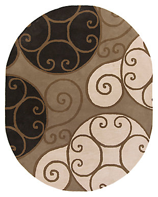 Home Accents Athena Swirl 8' x 10' Oval Area Rug, , large