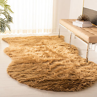 Faux Sheep Skin 5' x 8' Area Rug, Brown/Beige, rollover