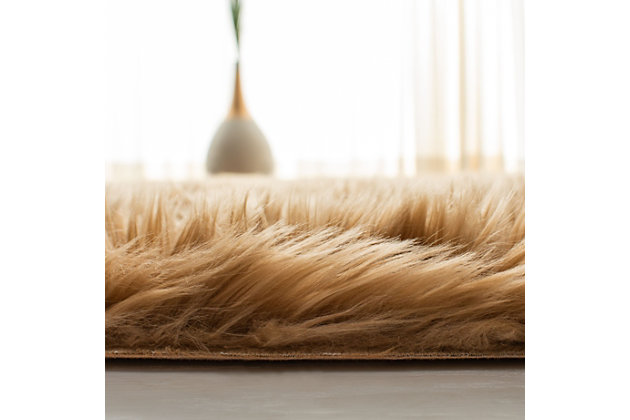 Faux Sheep Skin 5' x 8' Area Rug, Brown/Beige, large