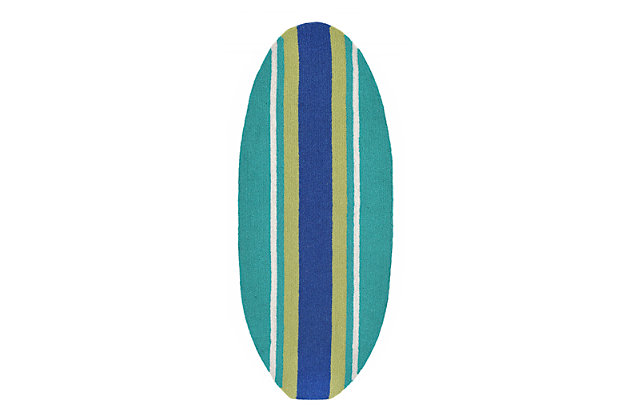 Home Accents Deckside Bold stripe Indoor/Outdoor Rug 1.45' x 3.58' by Ashley HomeStore, Blue