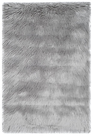 Faux Sheep Skin 2' x 3' Accent Rug, Black/Gray, large
