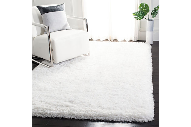 Ocean Shag 5' x 8' Area Rug, White, large