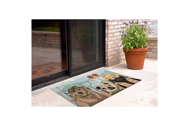 Home Accents Deckside 2' x 3' Popper Pups Indoor/Outdoor Doormat, , large