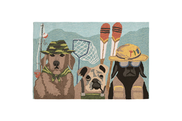 Home Accents Deckside 2' x 3' Popper Pups Indoor/Outdoor Doormat, , large