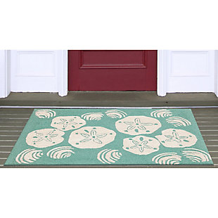 Home Accents Deckside 2' x 3' Sea Shell Indoor/Outdoor Doormat, Blue, rollover