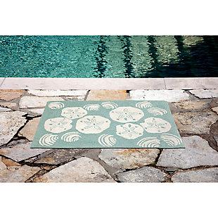 Home Accents Deckside 2' x 3' Sea Shell Indoor/Outdoor Doormat, Blue, large