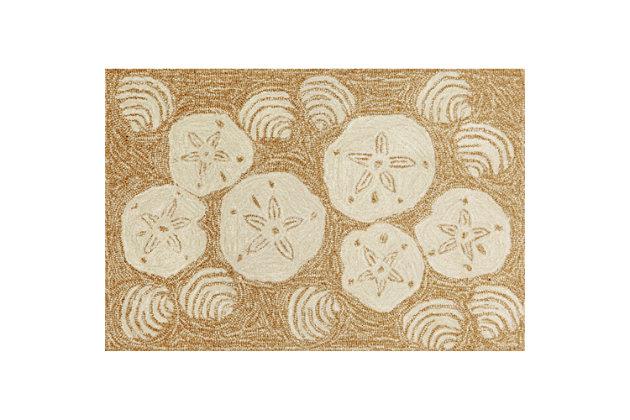 Home Accents Deckside 2' x 3' Sea Shell Indoor/Outdoor Doormat, Beige, large