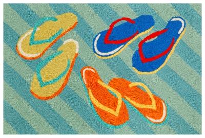 Home Accents Deckside 2' x 3' Summer Shoes Indoor/Outdoor Doormat, , large