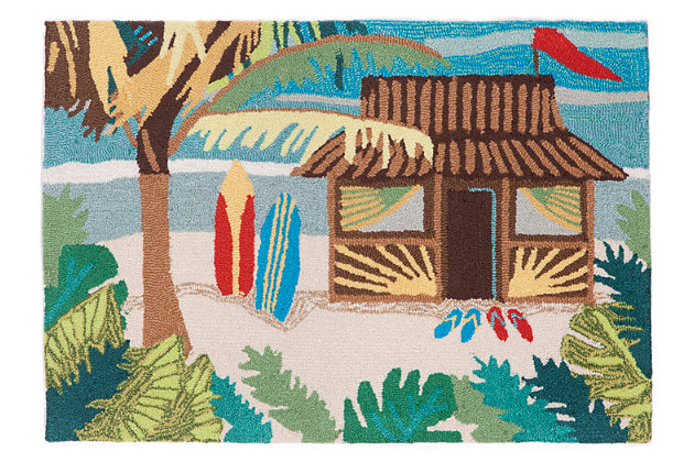 Home Accents Deckside Tropics Indoor/Outdoor Doormat 2' x 3' by Ashley HomeStore, Blue