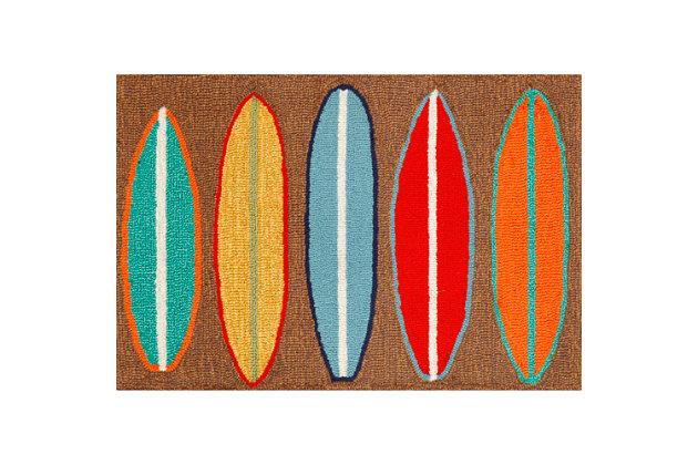 Home Accents Deckside Wave Rider Indoor/Outdoor Doormat 2' x 3' by Ashley HomeStore, Brown