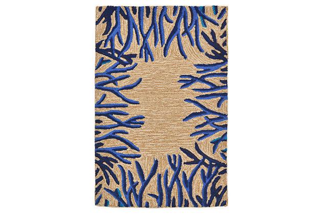 Home Accents Highlands Tropics Indoor/Outdoor Doormat 2' x 3' by Ashley HomeStore, Blue