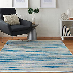 Nourison Jubilant Teal Blue And White 5'x7' Beach Area Rug, Blue, rollover