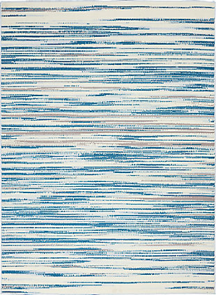 Nourison Jubilant Teal Blue And White 5'x7' Beach Area Rug, Blue, large