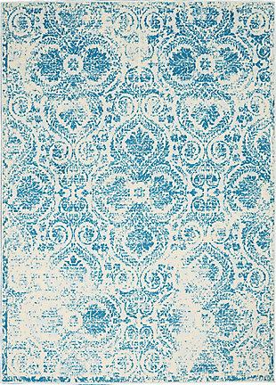 Nourison  Jubilant Teal Blue 5'x7' Vintage Area Rug, Blue, large