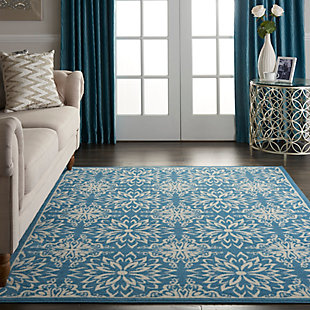 Nourison  Jubilant 5' x 7' Ivory Blue Transitional Area Rug, Ivory/Blue, rollover