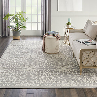 Nourison Jubilant Grey 7'x10' Floral Area Rug, Ivory/Gray, rollover