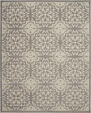 Nourison Jubilant Grey 7'x10' Floral Area Rug, Ivory/Gray, large