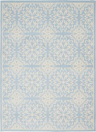 Nourison Jubilant Light Blue 5'x7' Beach Area Rug, Ivory/Light Blue, large