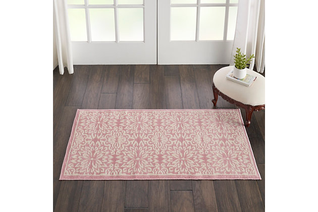 Nourison Jubilant 2' X 4' Small Pink Floral Area Rug, Ivory/Pink, large