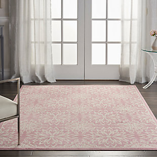 Nourison  Jubilant Pink 5'x7' Beach Area Rug, Ivory/Pink, rollover
