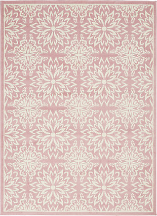 Nourison  Jubilant Pink 5'x7' Beach Area Rug, Ivory/Pink, large