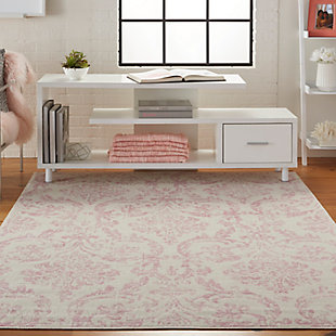 Nourison  Jubilant White and Pink 5'x7' Farmhouse Area Rug, Ivory/Pink, rollover