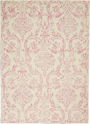 Nourison  Jubilant White and Pink 5'x7' Farmhouse Area Rug, Ivory/Pink, large