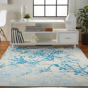Nourison  Jubilant White and Blue 5'x7' Contemporary Area Rug, Ivory/Blue, rollover