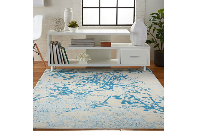 Nourison  Jubilant White and Blue 5'x7' Contemporary Area Rug, Ivory/Blue, large
