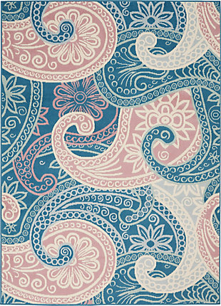 Nourison  Jubilant Pink and Blue 5'x7' Boho Area Rug, Blue, large