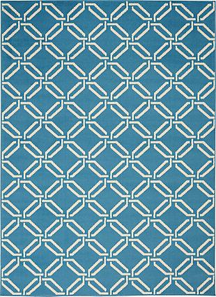 Nourison  Jubilant Blue 5'x7' Mid-century Area Rug, Blue, large