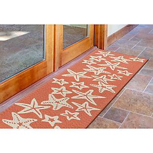 Home Accents Fortina 2' x 8' Basket Star Indoor/Outdoor Runner, Orange, rollover