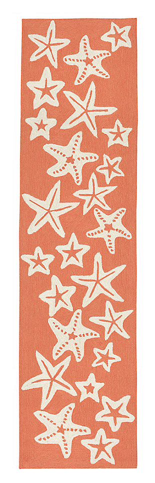 Home Accents Fortina 2' x 8' Basket Star Indoor/Outdoor Runner, Orange, large